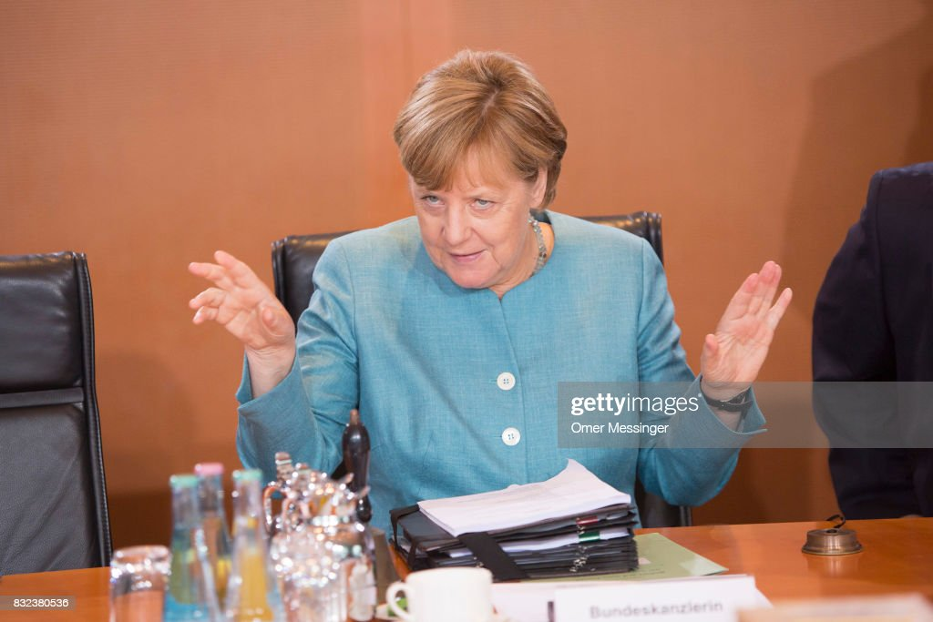 German Chancellor Angela Merkel is seen opening the weekly government cabinet meeting on August 16, 2017 in Berlin, Germany. Today is the first cabinet meeting since government members were on summer vacation. Germany faces federal elections in September.