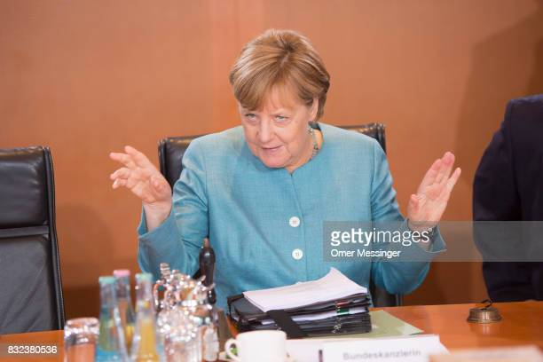 German Chancellor Angela Merkel is seen opening the weekly government cabinet meeting on August 16 2017 in Berlin Germany Today is the first cabinet...