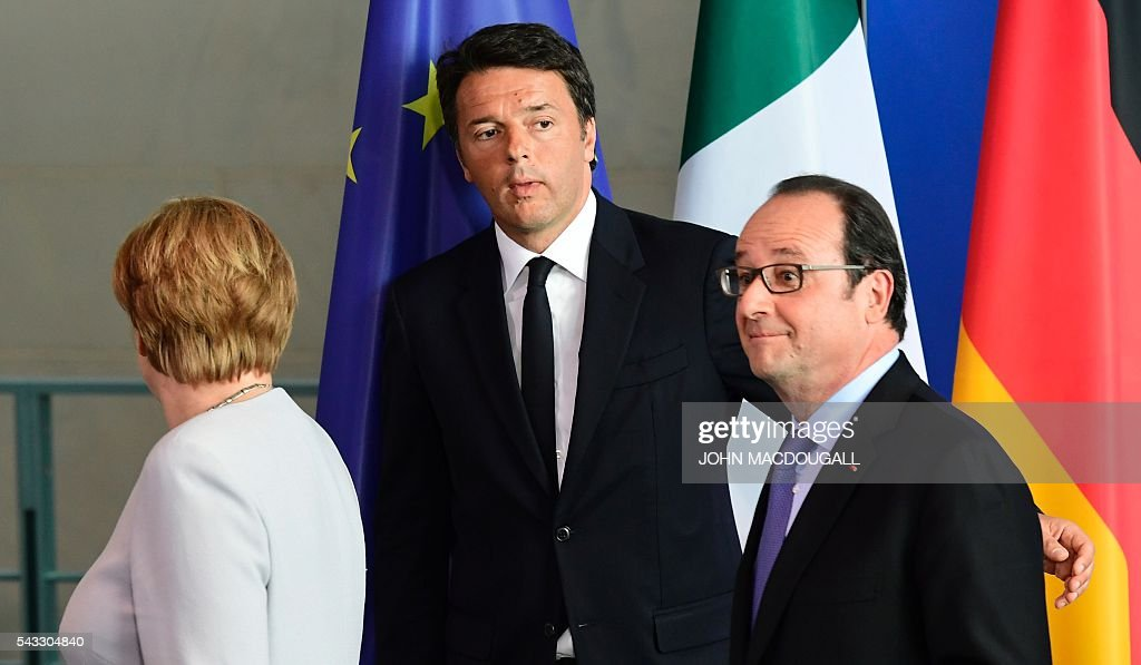 German Chancellor Angela Merkel, Italy's Prime Minister Matteo Renzi and French President Francois Hollande leave after addressing a press conference ahead of talks following the Brexit referendum at the chancellery in Berlin, on June 27, 2016. Britain's shock decision to leave the EU forces German Chancellor Angela Merkel into the spotlight to save the bloc, but true to her reputation for prudence, she said she would act neither hastily nor nastily. / AFP / John MACDOUGALL