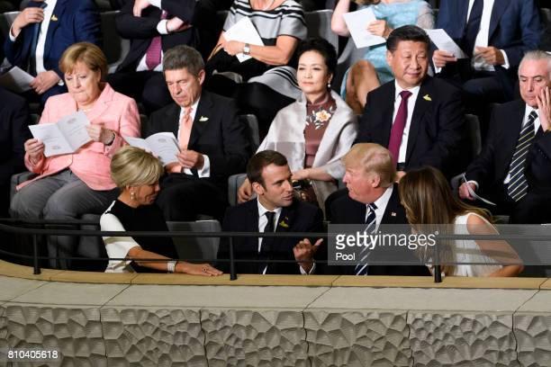 German Chancellor Angela Merkel Joachim Sauer US President Donald Trump his wife Melania Trump French President Emmanuel Macron his wife Brigitte...