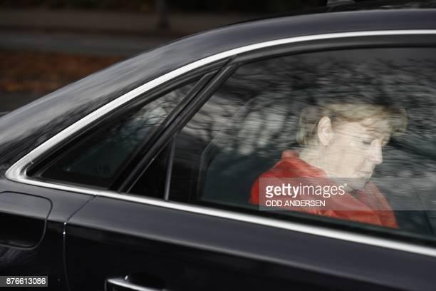 TOPSHOT German Chancellor Angela Merkel leaves in her car the presidential residence Bellevue Castle in Berlin where she met the German President on...