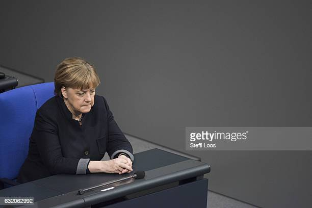 German Chancellor Angela Merkel looks on during a commemoration at Bundestag on January 19 2017 in Berlin GermanyOn December 19 2016 Anis Amri a...