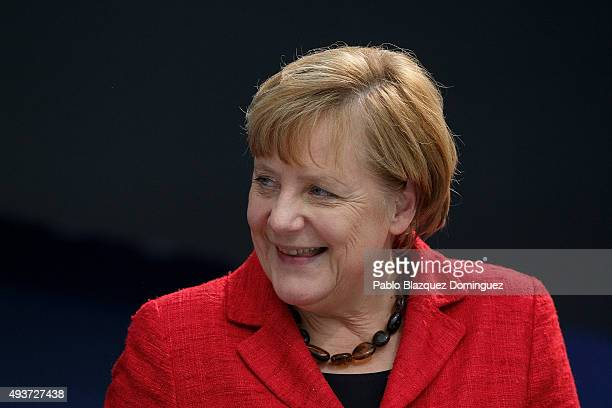 German Chancellor Angela Merkel looks on during a plenary session of the European People's Party Congress on October 22 2015 in Madrid Spain Madrid...