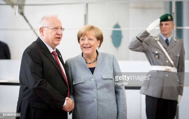 German Chancellor Angela Merkel meets Reuven Rivlin President of Israel in front of the Chancellor's Office on September 07 2017 in Berlin Germany