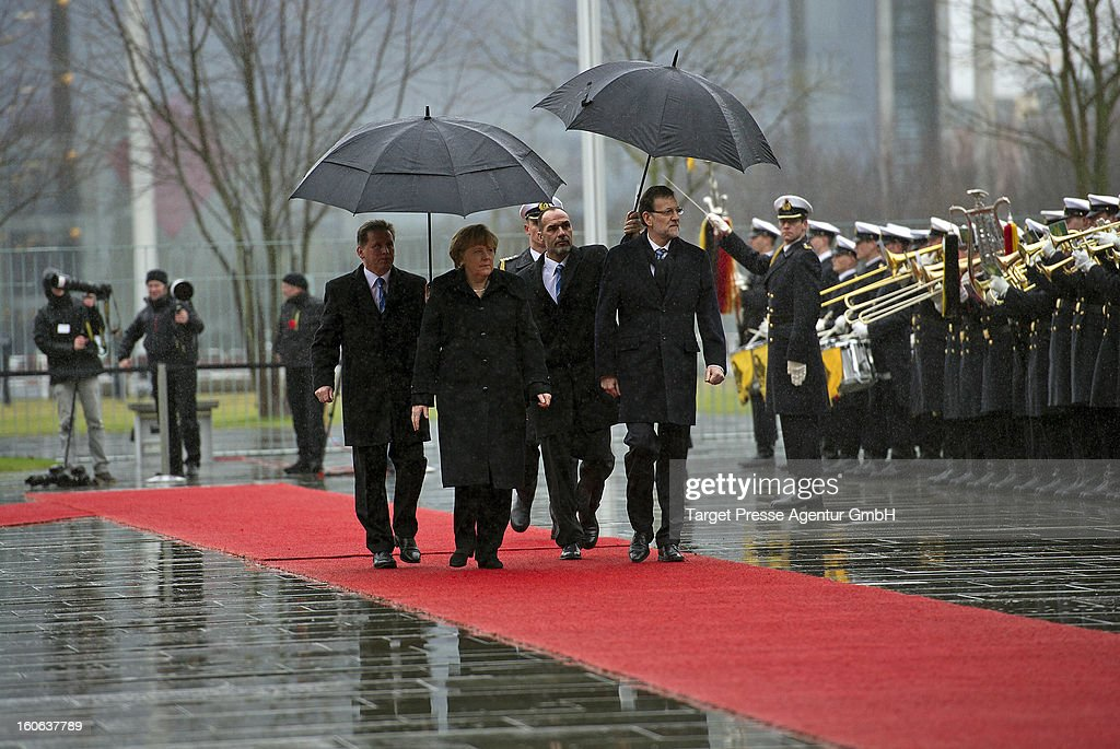 German Chancellor Angela Merkel meets Spanish Prime Minister Mariano Rajoy at the Chancellery on February 4, 2013 in Berlin, Germany. The German and Spanish government are meeting for consultations, and the ongoing spanish economic downturn is likely to be high on the agenda.