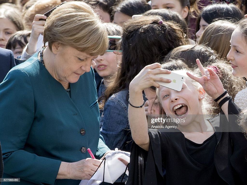 German Chancellor Angela Merkel meets the students at the French High School Lycee Francais on the EU Project Day in Berlin, Germany on May 3, 2016.