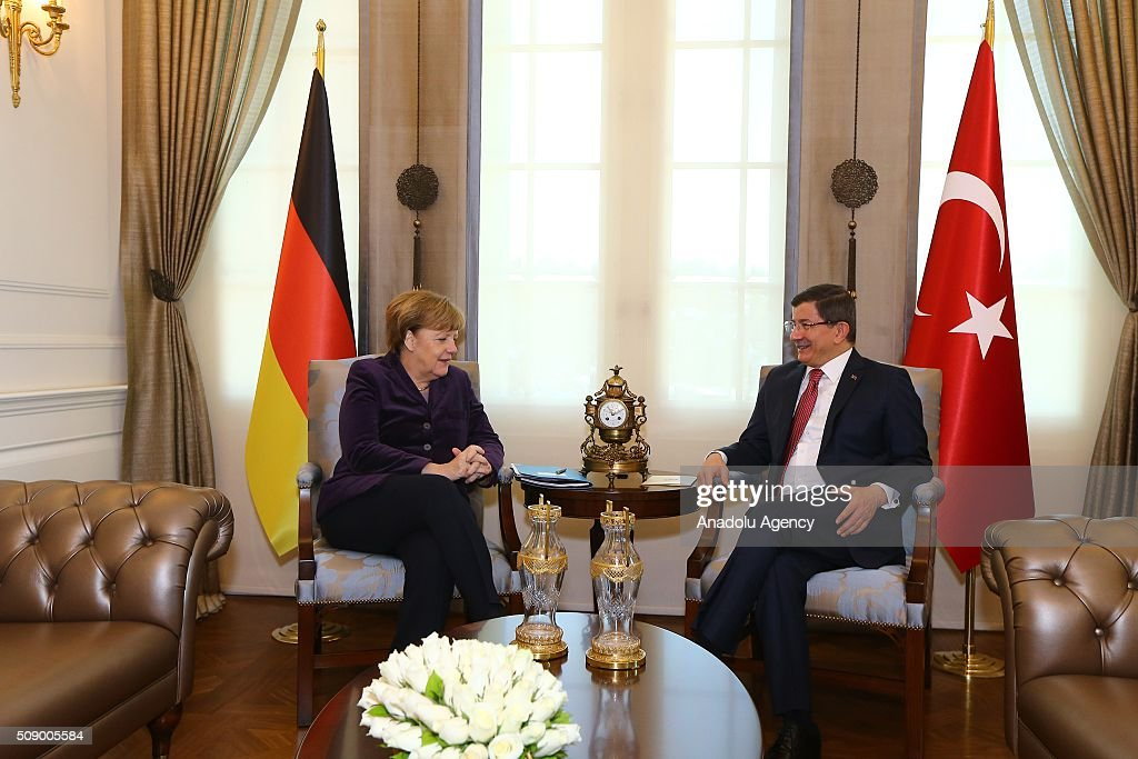 German Chancellor Angela Merkel (L) meets with Prime Minister of Turkey Ahmet Davutoglu in Ankara, Turkey on February 8, 2016.