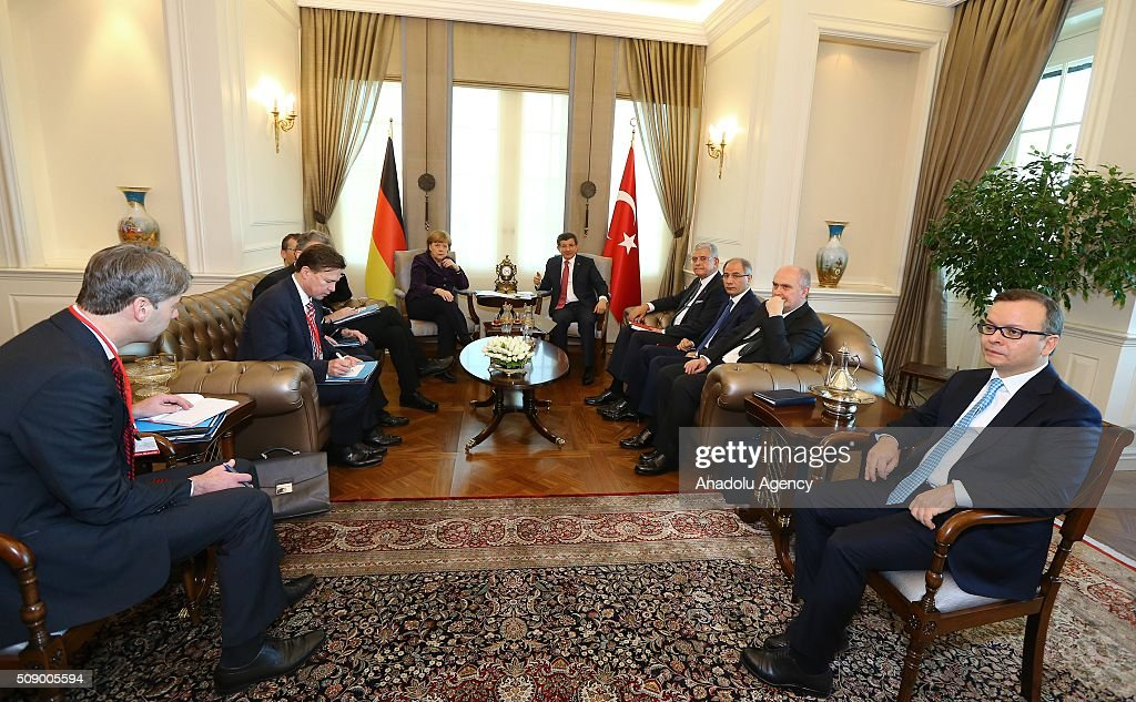 German Chancellor Angela Merkel (C-L) meets with Prime Minister of Turkey Ahmet Davutoglu (C-R) in Ankara, Turkey on February 8, 2016.