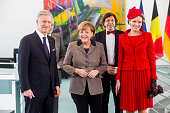 German Chancellor Angela Merkel meets with Queen Mathilde of Belgium King Philippe of Belgium Belgian Prime Minister Elio Di Rupo and VicePrime...