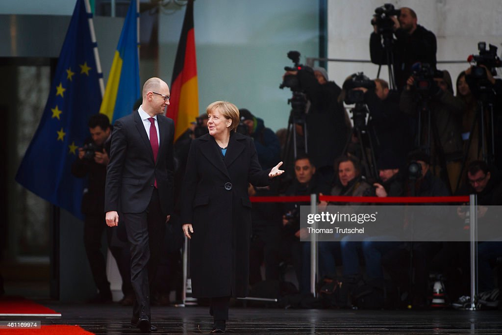 German Chancellor <a gi-track='captionPersonalityLinkClicked' href=/galleries/search?phrase=Angela+Merkel&family=editorial&specificpeople=202161 ng-click='$event.stopPropagation()'>Angela Merkel</a> meets with Ukrainian Prime Minister Arseniy Petrovych Yatsenyuk on January 08, 2015 in Berlin, Germany.