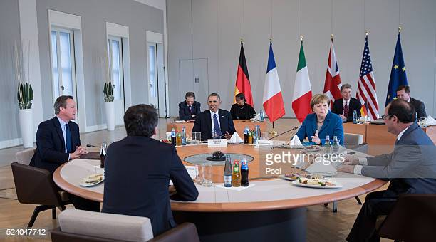 German Chancellor Angela Merkel meets with US President Barack Obama French President Francois Hollande British Prime Minister David Cameron and...