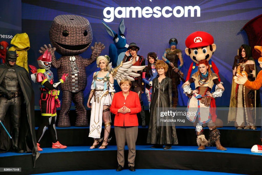 German Chancellor Angela Merkel opens the Gamescom 2017 gaming trade fair during the media day on August 22, 2017 in Cologne, Germany. Gamescom is the world's largest digital gaming trade fair and will be open to the public from August 22-26.