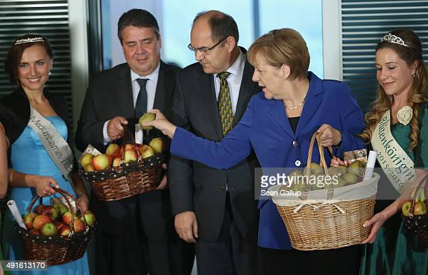 German Chancellor Angela Merkel places an apple from her basket into the basket of Vice Chancellor and Economy and Energy Minister Sigmar Gabriel as...