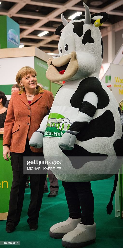 German Chancellor Angela Merkel poses with a cow mascot at the adventure farm during the opening tour of the International Green Week in Berlin, on January 18, 2013. International Green Week opens to the public from 18 until 27 January 2013.