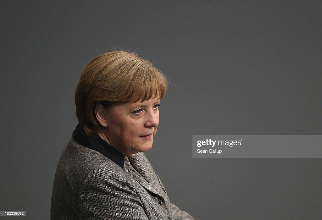 German Chancellor <a gi-track='captionPersonalityLinkClicked' href=/galleries/search?phrase=Angela+Merkel&family=editorial&specificpeople=202161 ng-click='$event.stopPropagation()'>Angela Merkel</a> prepares to give a government declaration on the forthcoming European Union budget that was agreed upon at a summit in Brussels recently on February 21, 2013 in Berlin, Germany. The budget required wrangling and compromises and will give more money to economically-stricken member state.