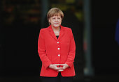 German Chancellor Angela Merkel prepares to welcome French Prime Minister Manuel Valls at the Chancellery on September 22 2014 in Berlin Germany...