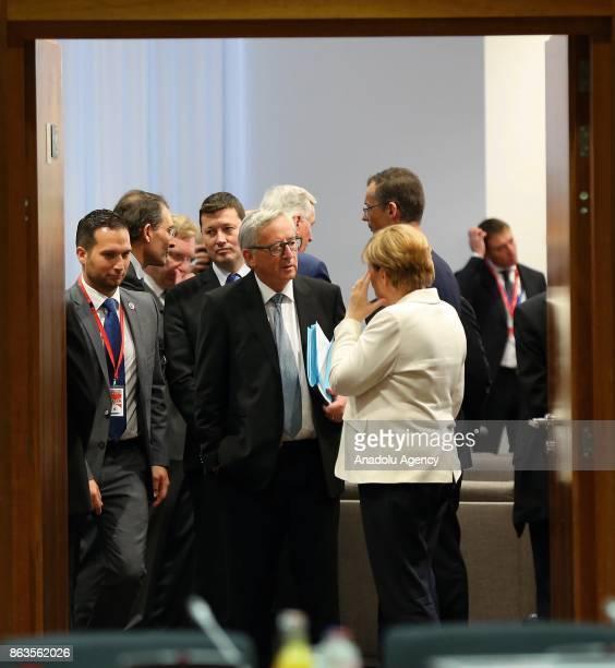 German Chancellor Angela Merkel President of the European Commission JeanClaude Juncker attend the European Council Meeting at the Council of the...