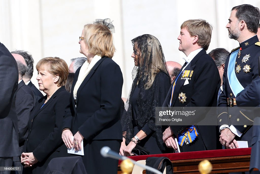 German Chancellor Angela Merkel, Princess Maxima of the Netherlands, Crown Prince Willem Alexander of the Netherlands and Prince Felipe of Spain attend the Inauguration Mass of Pope Francis in St. Peter's Square for his Inauguration Mass on March 19, 2013 in Vatican City, Vatican. The inauguration of Pope Francis is being held in front of an expected crowd of up to one million pilgrims and faithful who have crowded into St Peter's Square and the surrounding streets to see the former Cardinal of Buenos Aires officially take up his position. Pope Francis' inauguration takes place in front his cardinals, spiritual leaders as well as heads of states from around the world and he will now lead an estimated 1.3 billion Catholics.