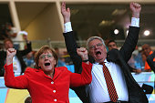 German Chancellor Angela Merkel reacts with German President Joachim Gauck during the 2014 FIFA World Cup Brazil Final match between Germany and...
