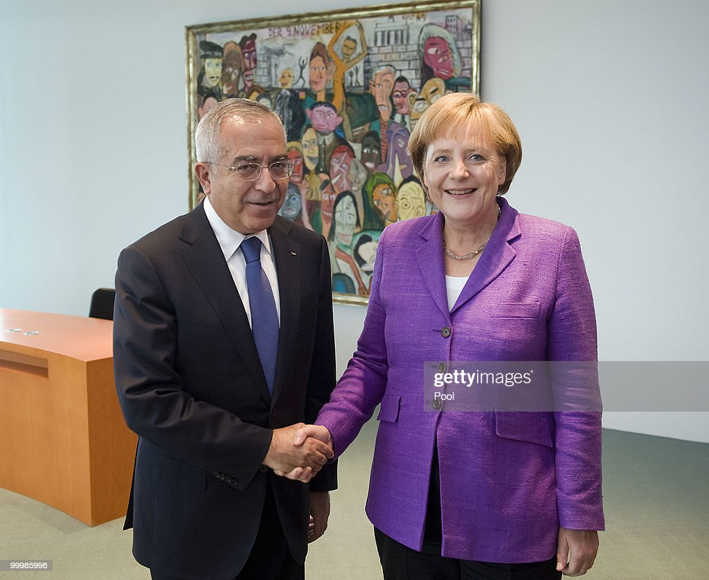 German Chancellor <a gi-track='captionPersonalityLinkClicked' href=/galleries/search?phrase=Angela+Merkel&family=editorial&specificpeople=202161 ng-click='$event.stopPropagation()'>Angela Merkel</a> receives Palestinian Prime Minister <a gi-track='captionPersonalityLinkClicked' href=/galleries/search?phrase=Salam+Fayyad&family=editorial&specificpeople=2162597 ng-click='$event.stopPropagation()'>Salam Fayyad</a> for talks at the Chancellery on May 19, 2010 in Berlin, Germany. Fayyad visits Germany for the first German-Palestinian executive committee, which supports Palestina in building constitutional and effective structures.