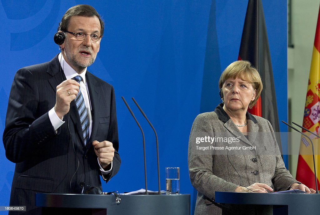 German Chancellor <a gi-track='captionPersonalityLinkClicked' href=/galleries/search?phrase=Angela+Merkel&family=editorial&specificpeople=202161 ng-click='$event.stopPropagation()'>Angela Merkel</a> receives Spanish Prime Minister Mariano Rajoy at the Chancellery on February 4, 2013 in Berlin, Germany. Topics of the meeting where talks on the euro debt crisis and the European Union's new budget. Prime Minister Mariano Rajoy has strenuously denied allegations of corruption as El Pais newspaper published photos allegedly detailing secret payments.
