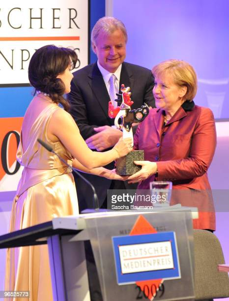 German chancellor Angela Merkel receives the award of Anna Netrebko and Karlheinz Koegel duringf the German Media Award on February 9 2010 in...