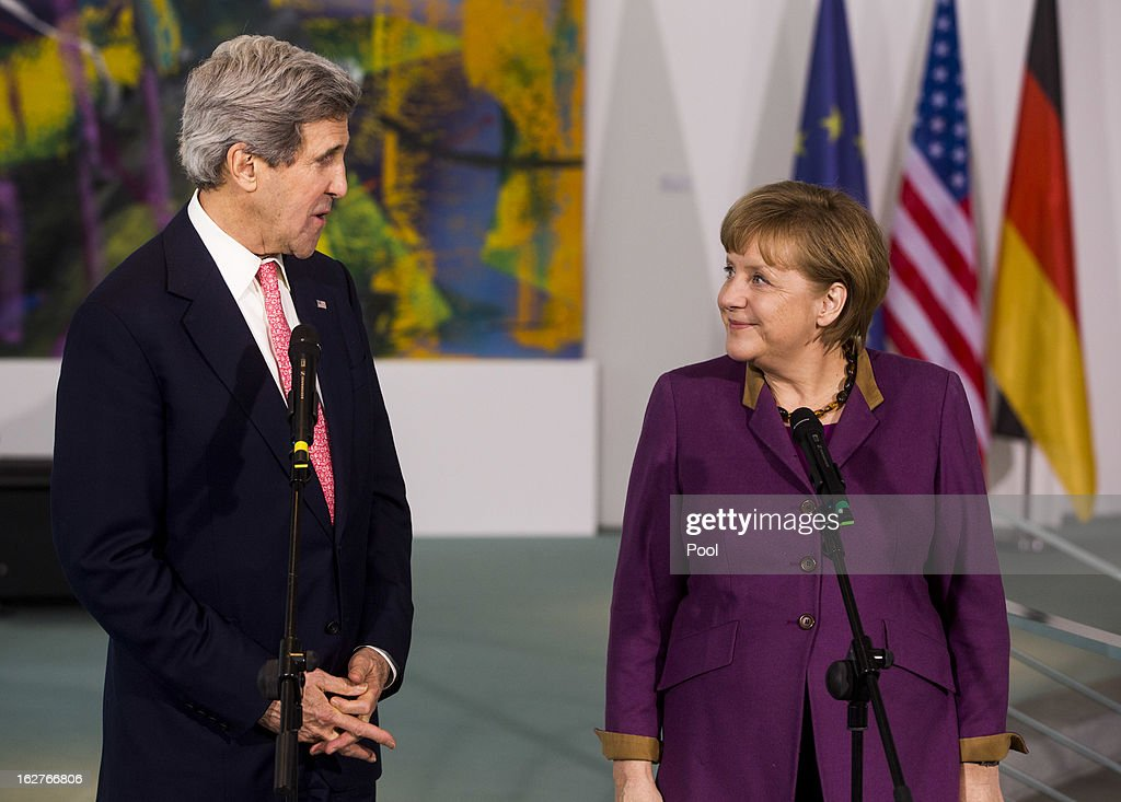 German Chancellor Angela Merkel receives U.S. Secretary of State <a gi-track='captionPersonalityLinkClicked' href=/galleries/search?phrase=John+Kerry&family=editorial&specificpeople=154885 ng-click='$event.stopPropagation()'>John Kerry</a> as they give a statement to the press on February 26, 2013 in Berlin, Germany. Kerry is in Germany on his first visit abroad as secretary of state, on an 11-day trip that will also take in Paris, Rome, Ankara, Cairo, Riyadh, Abu Dhabi and Doha, before he returns to the United States on March 6. Kerry spent yesterday in London, holding talks with Prime Minister David Cameron and Foreign Secretary William Hague.