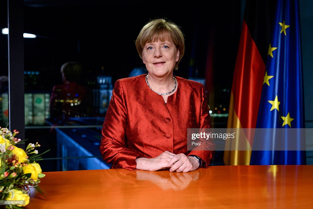 German Chancellor <a gi-track='captionPersonalityLinkClicked' href=/galleries/search?phrase=Angela+Merkel&family=editorial&specificpeople=202161 ng-click='$event.stopPropagation()'>Angela Merkel</a> records her televised new year's address at the Chancellery on December 30, 2015 in Berlin, Germany. Integration of the over one million migrants and refugees who came to Germany in 2015 will be among Germany's biggest challenges in 2016. Other major issues will include the fight against Islamist terror both at home and through Germany's participation in the coalition-led war against the Islamic State.