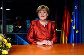 German Chancellor Angela Merkel records her televised new year's address at the Chancellery on December 30 2015 in Berlin Germany Integration of the...