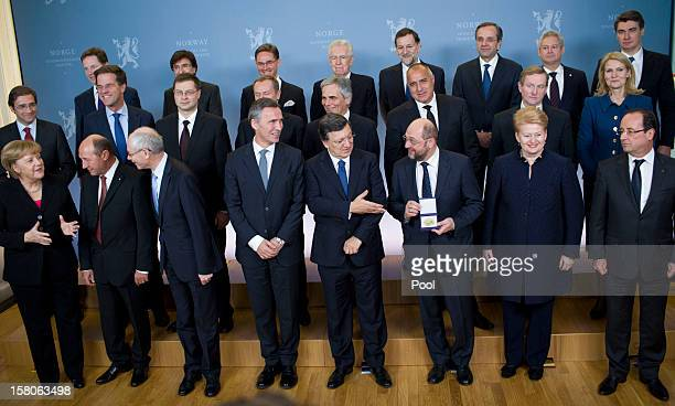 German Chancellor Angela Merkel Romanian President Traian Basescu Norway's Prime Minister Jens Stoltenberg President of the European Commission Jose...