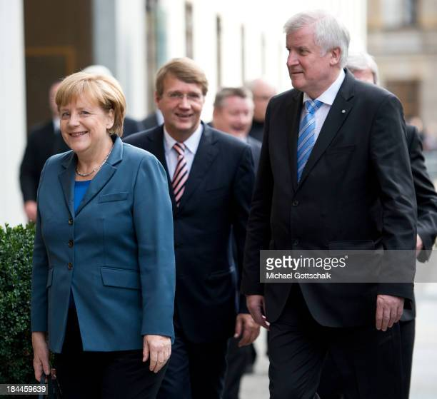 German Chancellor Angela Merkel Ronald Pofalla Head of Chancellery and Prime Minister of German State of Bavaria Horst Seehofer arrive for a meeting...