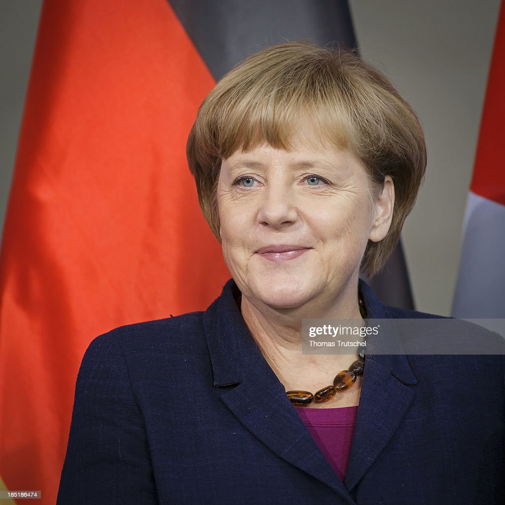 German Chancellor Angela Merkel speak to the media following talks with President of the Palestinian National Authority Mahmoud Abbas (not pictured) at the Chancellery on October 18, 2013 in Berlin, Germany. Abbas is currently in Europe partly to lobby the European Union against providing Israel funds for housing expansion in occupied territories.