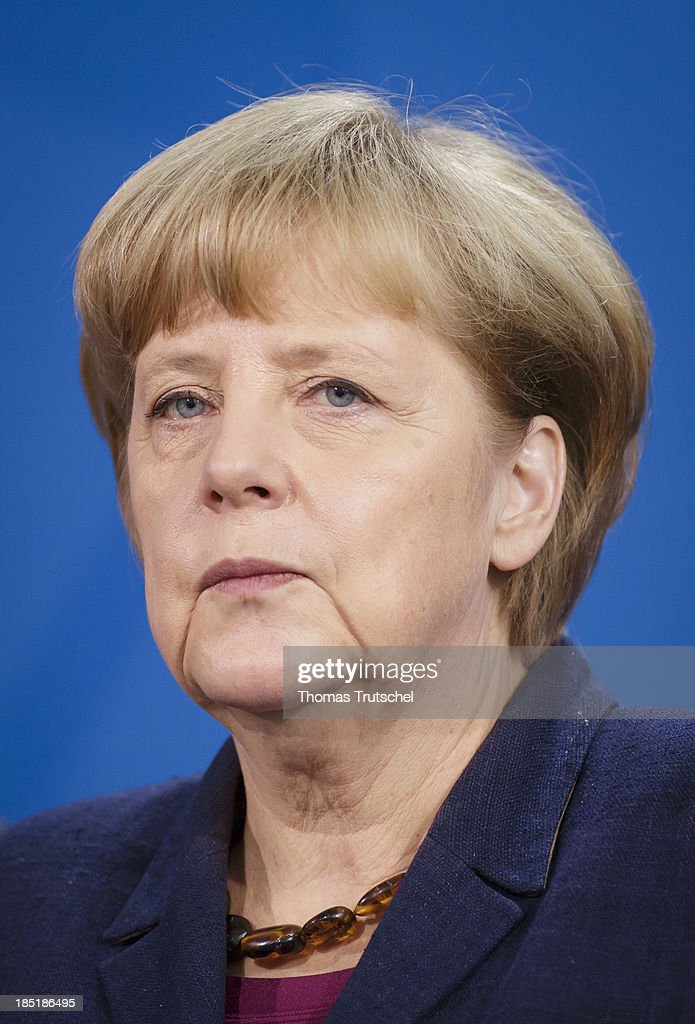 German Chancellor <a gi-track='captionPersonalityLinkClicked' href=/galleries/search?phrase=Angela+Merkel&family=editorial&specificpeople=202161 ng-click='$event.stopPropagation()'>Angela Merkel</a> speak to the media following talks with President of the Palestinian National Authority Mahmoud Abbas (not pictured) at the Chancellery on October 18, 2013 in Berlin, Germany. Abbas is currently in Europe partly to lobby the European Union against providing Israel funds for housing expansion in occupied territories.