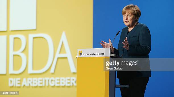 German Chancellor Angela Merkel speaks at a congress of the German Federation of Employers on November 4 2014 in Berlin Germany The BDA is meeting...