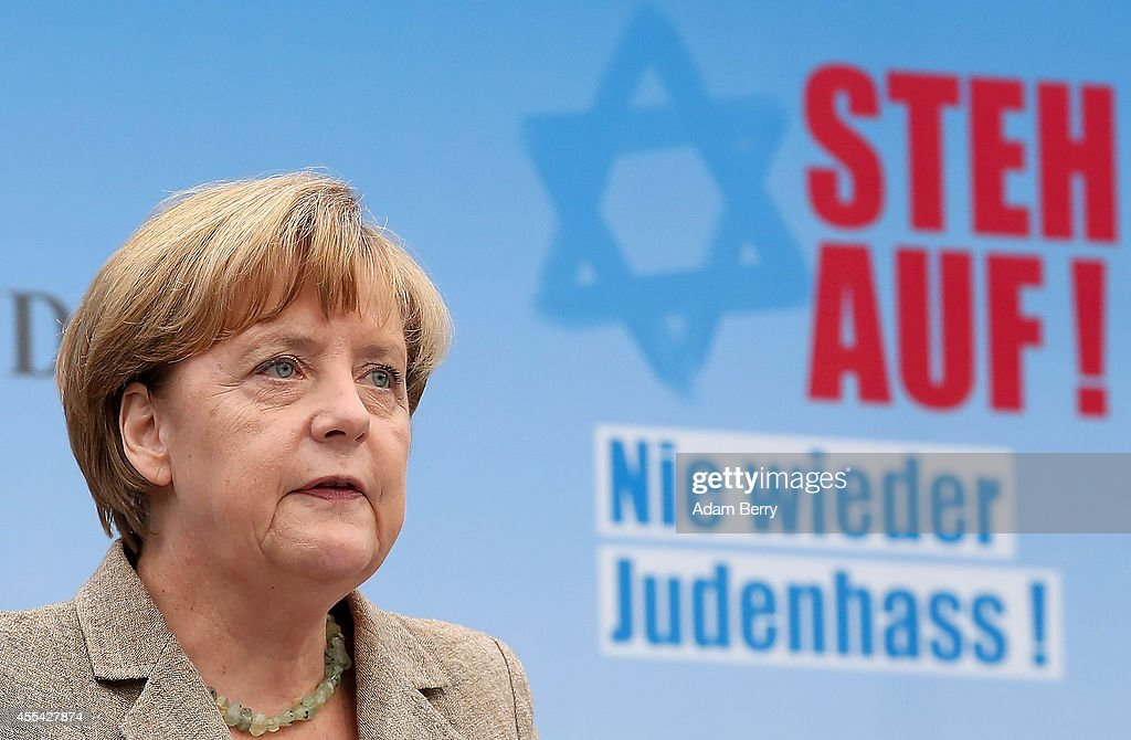 German Chancellor Angela Merkel speaks at a rally against antisemitism on September 14 2014 in Berlin Germany With the slogan 'Stand Up Never Again...