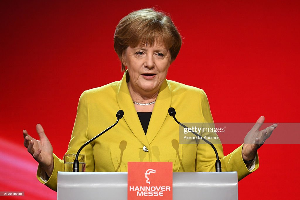 German chancellor Angela Merkel speaks at the opening evening of the Hannover Messe trade fair on April 24, 2016 in Hanover, Germany. Obama met with German Chancellor Angela Merkel in Hanover earlier in the day and is scheduled to tour exhibition halls at the fair tomorrow. Hannover Messe is the world's largest industrial trade fair.