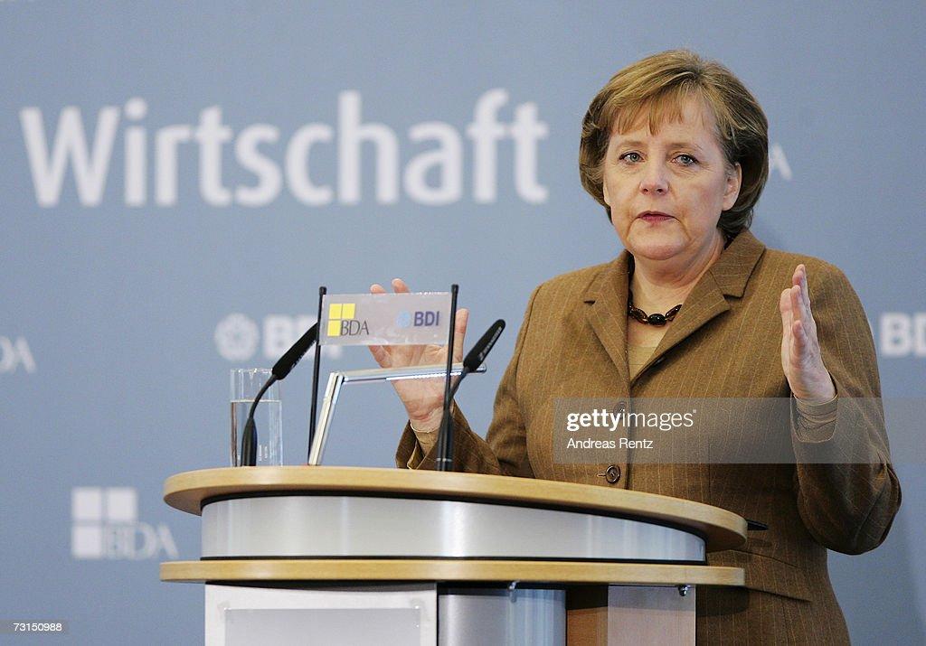 German Chancellor Angela Merkel speaks at the opening of the German Federation of Industry Europe day on January 30 2007 in Berlin Germany Merkel...
