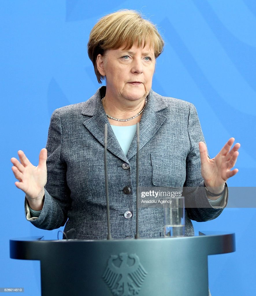 German Chancellor Angela Merkel speaks during a joint press conference with Latvian Prime Minister after their talks in Berlin, Germany on April 29, 2016.