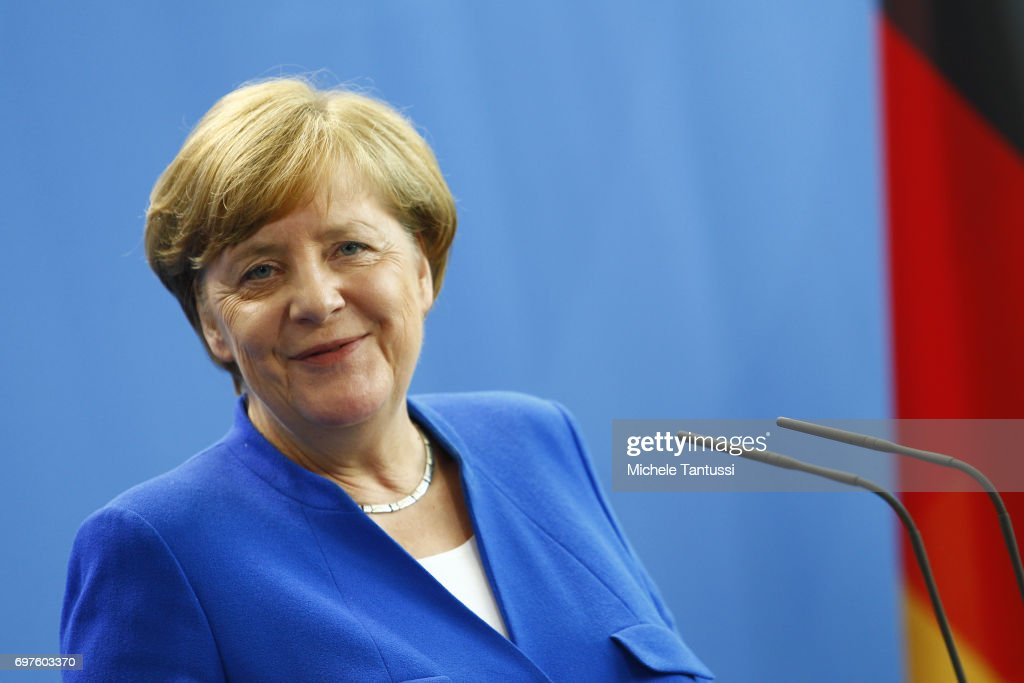 German Chancellor Angela Merkel speaks during a joint press conference with Romanian president following their meeting in the german chancellory on June 19, 2017 in Berlin, Germany.