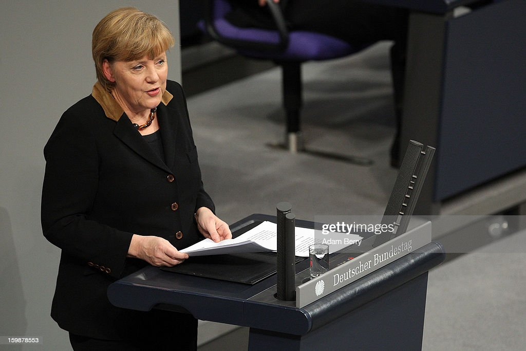 German Chancellor Angela Merkel speaks during a joint session of the German Bundestag and French Assemblee Nationale parliaments in the Reichstag building during the 50th anniversary celebration of the Elysee Treaty on January 22, 2013 in Berlin, Germany. The treaty, concluded in 1963 by Charles de Gaulle and Konrad Adenauer in the Elysee Palace in Paris, set a new tone of reconciliation between France and Germany, and called for consultations between the two countries to come to a common stance on policies affecting the most important partners in Europe as well as the rest of the region. Since its establishment, the document for improved bilateral relations has been seen by many as the driving force behind European integration.