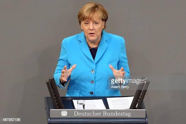 German Chancellor Angela Merkel speaks during a session of the Bundestag the German parliament on September 9 2015 in Berlin Germany Merkel spoke...