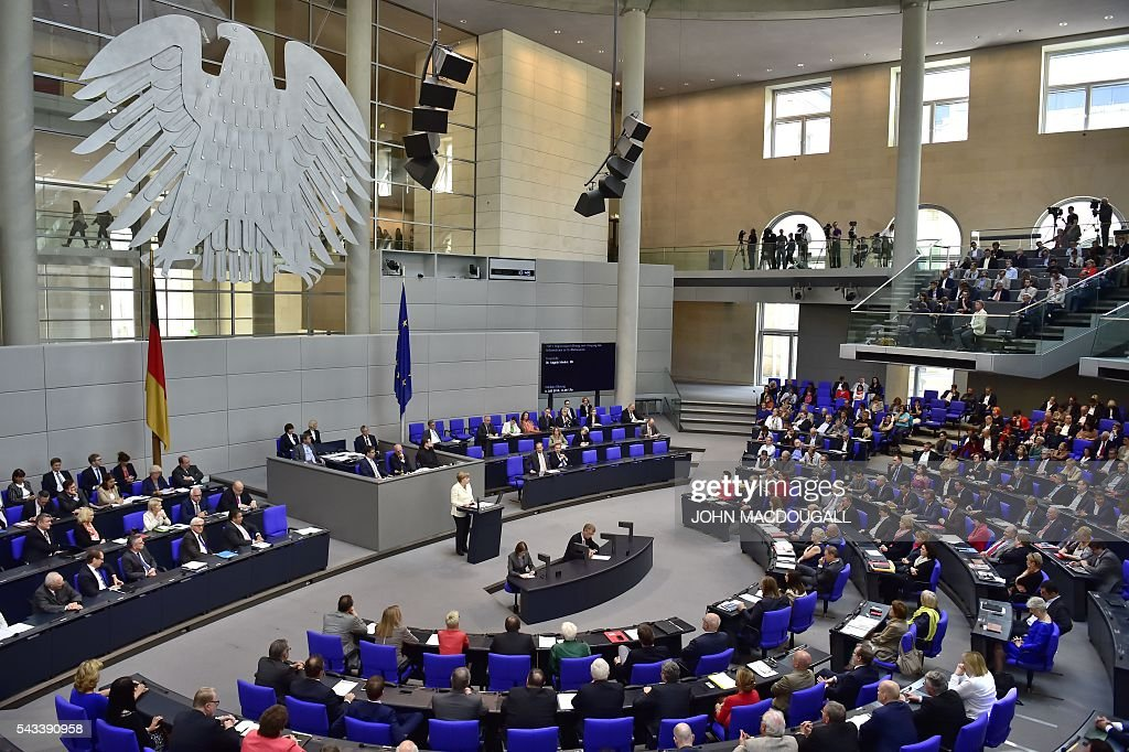 German Chancellor Angela Merkel speaks during a special plenary session on Brexit at the German lower house of Parliament Bundestag in Berlin, on June 28, 2016. Merkel outlines to parliament her vision for the future of Europe following Britain's decision to leave the EU. / AFP / John MACDOUGALL