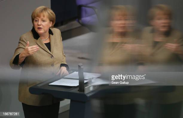 German Chancellor Angela Merkel speaks during debates at the Bundestag over the 2013 federal budget on November 21 2012 in Berlin Germany Bundestag...