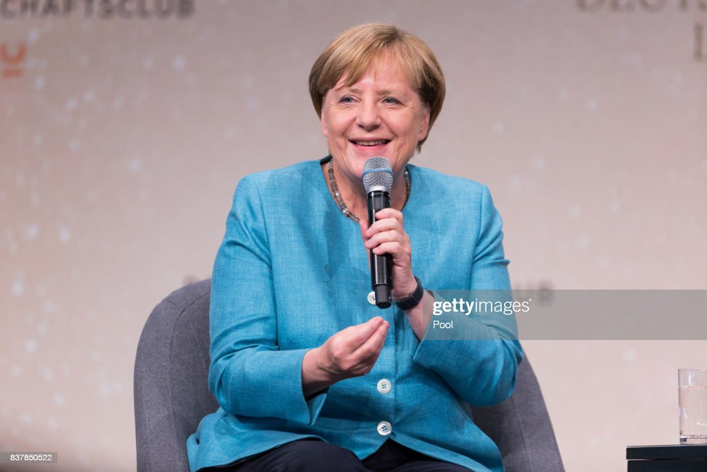 German Chancellor Angela Merkel speaks during 'Germany Live: Where does the West go?' at the Westhafen Event & Convention Center (WECC) on August 23, 2017 in Berlin, Germany.