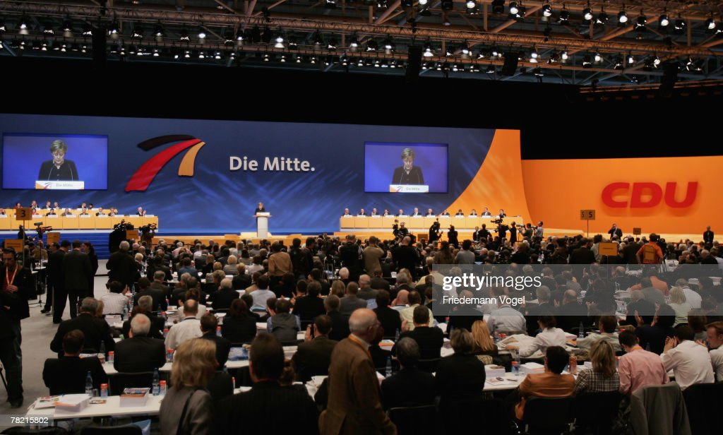 German Chancellor Angela Merkel speaks during the 21st party congress of the German Christian Democratic Party on December 3 2007 in Hanover Germany...