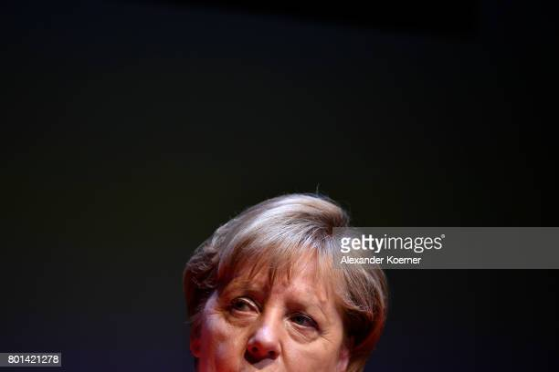 German chancellor Angela Merkel speaks on stage during the Brigitte Live Event at Maxim Gorki Theater on June 26 2017 in Berlin Germany