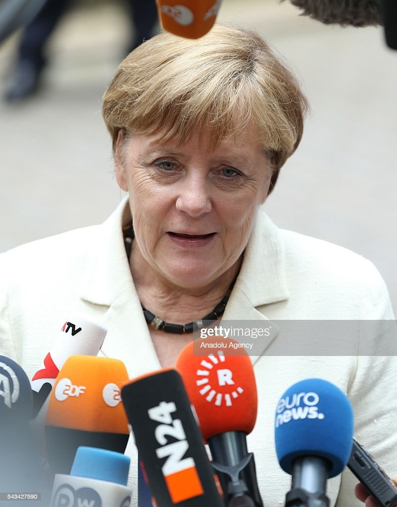German Chancellor Angela Merkel speaks to media before attending the EU summit meeting on June 28, 2016 at the European Union headquarters in Brussels.