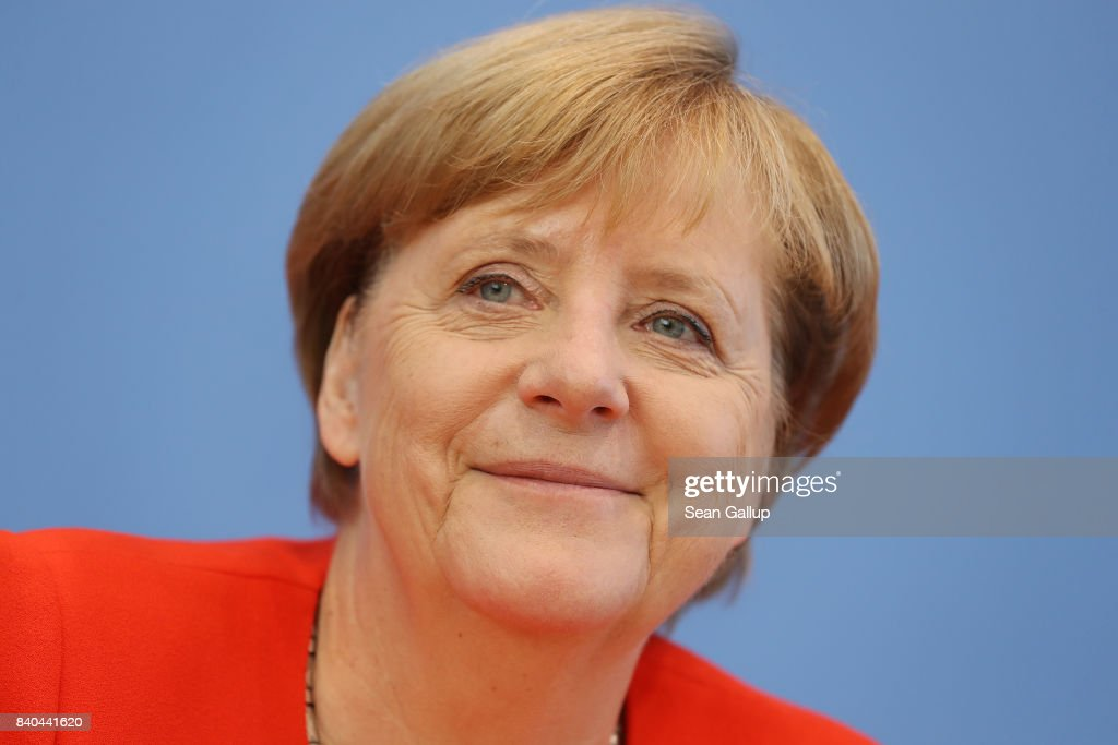 German Chancellor Angela Merkel speaks to the media at her annual press conference at Bundespressekonferenz on August 29, 2017 in Berlin, Germany. Germany will hold federal elections on September 24 and Merkel is seeking a fourth term as chancellor.