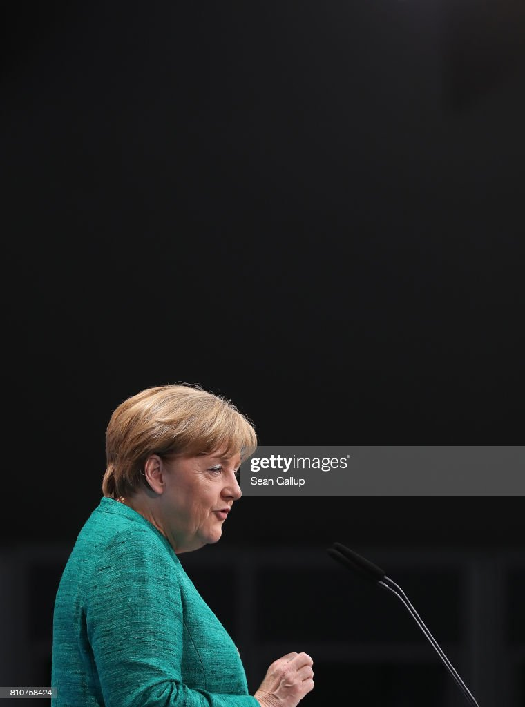 German Chancellor Angela Merkel speaks to the media following the conclusion of the G20 economic summit on July 8, 2017 in Hamburg, Germany. G20 leaders have reportedly agreed on trade policy for their summit statement but disagree over climate change policy.