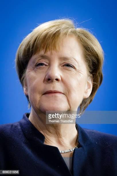 German Chancellor Angela Merkel speaks to the media on March 21 2017 in Berlin Germany